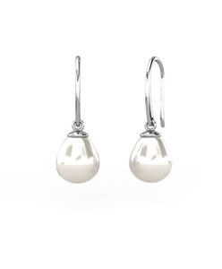 Pendientes en Oro blanco de 18 Kt, con Perlas en forma de gotas Cresber