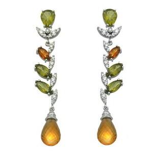 Espectaculares pendientes largos de oro blanco con 0,38 ct Brillantes, Citrinos y Olivinas. Cresber