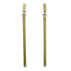 Pendientes largos de oro amarillo de 18k de 2mm de anchos y 4.7cm de largos  Never say never