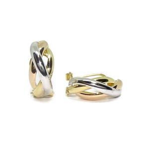 pendientes medios aros tricolor de oro amarillo, blanco y rosa de 18k con cierre omega. Never say never