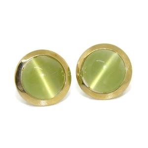 Pendientes de oro amarillo de 18Ktes y piedra de color 'ojo de gato' Never say never