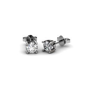 Pendientes de Oro blanco de 18 Kt, con Diamante de 0,70 ct Cresber