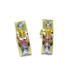 Pendientes de oro amarillo de 18Ktes con 8 circonitas de color, presión. Never say Never