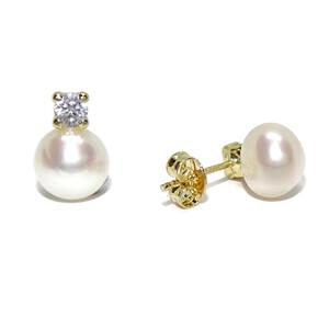 Pendientes de oro amarillo de 18Ktes con 2 perlas cultivadas y circonitas. Especial comunión! Never say never