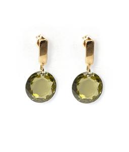 Pendientes de Oro amarillo 18 kt piedra facetada redonda color olivina, Cresber