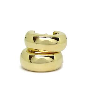 Pendientes tipo aro de oro amarillo de 18K de 8mm de ancho Never say never