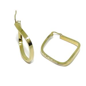 Pendientes tipo aros de oro amarillo de 18k forma irregular 3mm de anchos por 3.20cm de diámetro ext Never say never