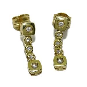 Pendientes con 0.22cts de diamantes y oro amarillo de 18Ktes . presión Never say never