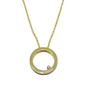 Colgante de 0.015cts de diamantes y oro amarillo de 18Ktes con cadena forzada de oro amarillo de 18K Never say never