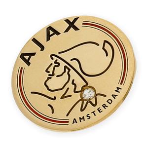 Pin con motivo del Ajax de Amsterdam realizado en oro amarillo de 750 milésimas (18kt) con esmalte de los colores del equipo y un diamante talla brillante central de 0,04kts.
