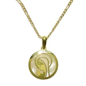 Medalla Collar de oro amarillo de 18ktes Virgen niña con nácar de 17mm Never say never