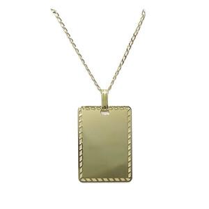 Placa de oro amarillo de 18k para poder grabar por delante y por detrás con cadena maciza de oro Never say never