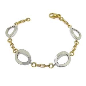 Preciosa pulsera de oro amarillo y oro blanco de 18k con cierre mosquetón de seguridad y 19cm de lar Never say never