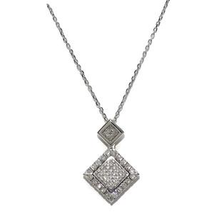 Precioso colgante doble con asa oculta de oro blanco de 18k con 0.27cts de diamantes y cadena forzad Never say never