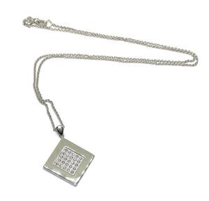 Precioso Collar de Oro Blanco de 18k con 0.38cts de Diamantes y Cadena rolo de 40cm. Todo Oro de 18k Never say never