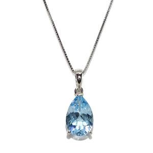 Precioso Collar de Oro Blanco de 18k con un topacio Azul de 3.65cts, de Color y Brillo extraordinari Never say never
