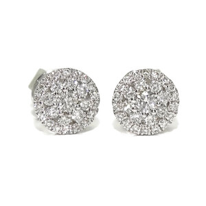 Preciosos pendientes de 0.30cts de diamantes y oro blanco de 18k. Presión. 6mm de diámetro Never say never