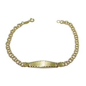 Pulsera de Oro Amarillo de 18K con Placa Especial comunión, Personalizable 100% 18.00cm de Larga Never say never
