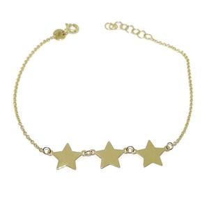 Pulsera con 3 estrellas toda de oro amarillo de 18k. 19.50cm con cierre en varias posiciones. Never say never