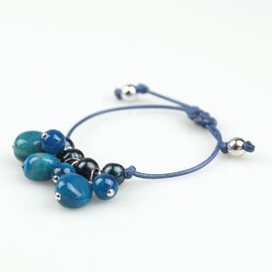 Pulsera cordón azul con pendants de ágata PU224 Patricia Garcia