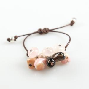 Pulsera cordón marrón con pendants BUPU272 Patricia Garcia