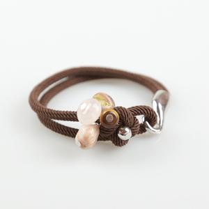 Pulsera cordón marrón y ópalo rosa BUPU271 Patricia Garcia