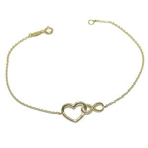 Pulsera de Oro Amarillo de 18k con corazón e Infinito de 18.00cm de Larga con Cierre reasa. Never say never