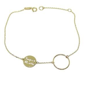 Pulsera de oro amarillo de 18k con motivo karma y círculo super mami. 18.5cm Never say never