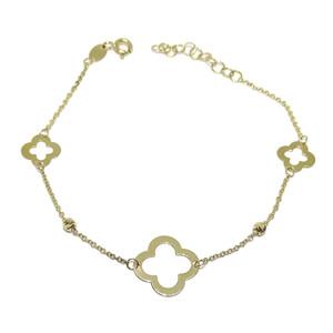 Pulsera de oro amarillo de 18k para mujer con 3 tréboles de 4 hojas y 2 bolas de oro, cadena rolo y  Never say never
