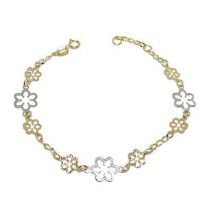 Pulsera de Oro Amarillo y Oro Blanco de 18k con 9 Flores DE 18.50cm y Cierre reasa  Never say never