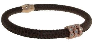 Pulsera de piel marrón con circonitas  BRB47-3 LUCA LORENZINI