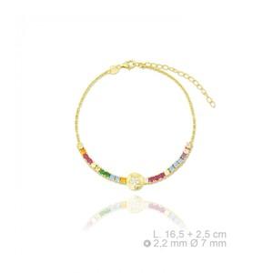 pulsera de plata chapada en oro  con zirconitas - Artesanal - 115556c