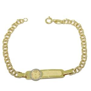 Pulsera de oro amarillo y oro blanco de 18Ktes para bebé. 14cm Never say never