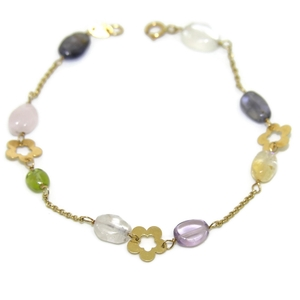 Pulsera de oro amarillo de 18ktes con piedra natural de color Never say never