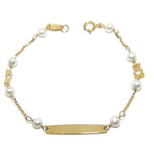Pulsera para bebé de oro amarillo de 18ktes y perlas cultivadas de 4mm Never say never