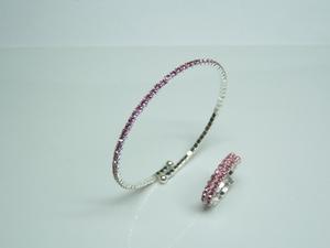 Combinado Juego de pulsera y anillo de cristal rosa