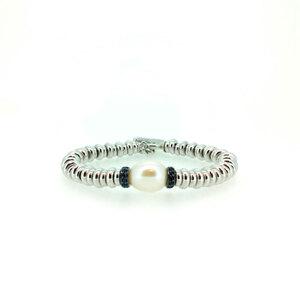 Pulsera plata 925/000 perla cultivada y zafiro azul  089105