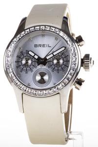 Reloj Breil Bisel Circonitas Correa piel blanca Esfera plateada multifunción TW0625