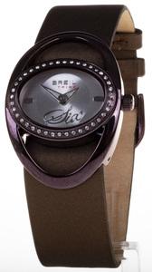 Reloj Breil Ovalado Caja berenjena Bisel circonitas Correa marrón TW0285