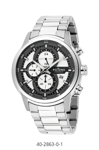 Reloj caballero caja y pulsera acero crono  40-2863-0-1 Potens