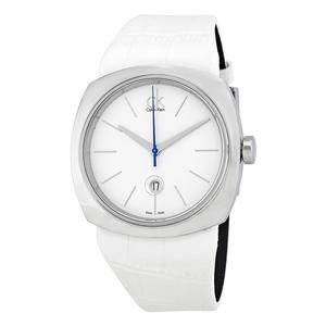 Reloj Calvin Klein esfera blanca y piel blanca K9721137