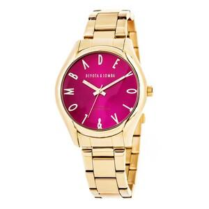 Reloj dorado mujer, esfera fucsia 8435432511602 Devota & Lomba