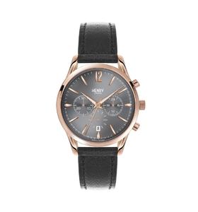 Reloj Henry London crono en dorado rosado y piel negra HL39-CS-0122