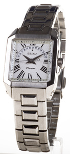 Reloj Seiko Premier de  mujer en acero cuadrado con calendario y cristal de zafiro SXD789