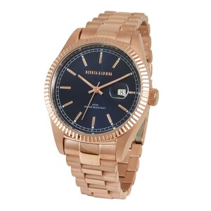 Reloj oro rosa hombre, esfera azul 8435334800163 Devota & Lomba