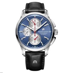 Reloj Maurice Lacroix PT6388-SS001-430-1 automática con correa de piel negra.