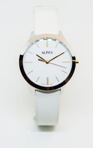 Reloj pulsera Alfex acero correa de cuero blanco 5705/861