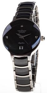 Reloj Viceroy Acero Cadena Acero y Cerámica negra Esfera negra Cristal zafiro Circonitas Calendario  47324-50