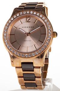 Reloj Viceroy acero cadena oro rosa bisel circonitas saetas fluorescentes 46880-95