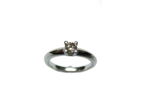 ANILLO Solitario plata y brillante Brown